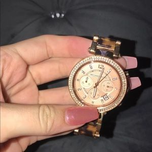 Accessories - Micheal Kors watch rose gold animal print